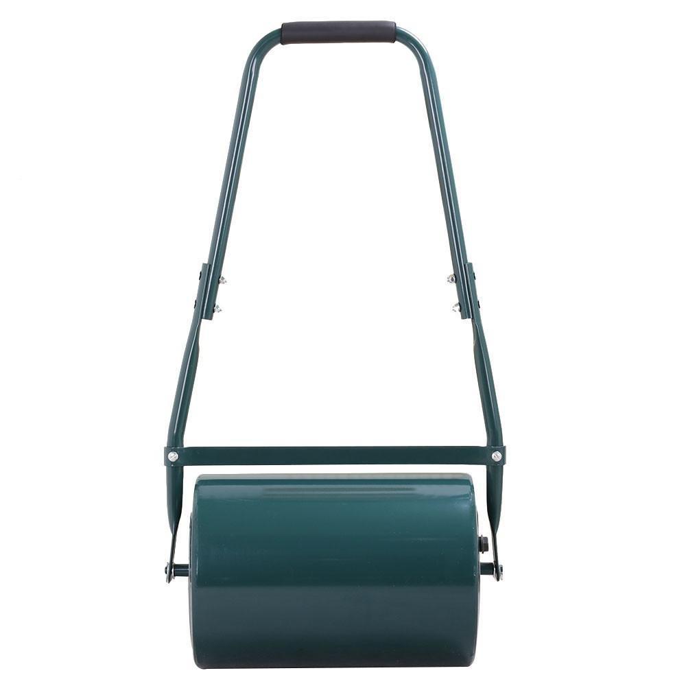 Outdoortips Galvanised Steel Garden Grass Lawn Roller 30 L with Scraper Bar Handles