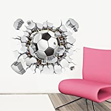 Ducklingup 3D Broken Wall Hole Bricks Wall Football Soccer Art Mural Posters Wall Stickers (J)