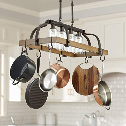 Ceiling Pot Rack Wood - Eldrige Bronze Pot Rack Chandelier with Hook Storage Seeded Glass 36 1/2