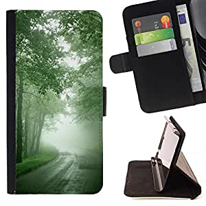 Momo Phone Case / Flip Funda de Cuero Case Cover - Naturaleza Hermosa Forrest Verde 7 - Samsung Galaxy Core Prime