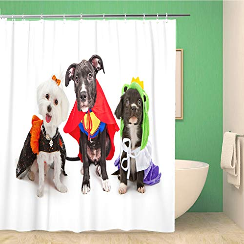 Awowee Bathroom Shower Curtain Three Cute Little Puppy Dogs Dressed Up in Halloween Polyester Fabric 66x72 inches Waterproof Bath Curtain Set with Hooks]()
