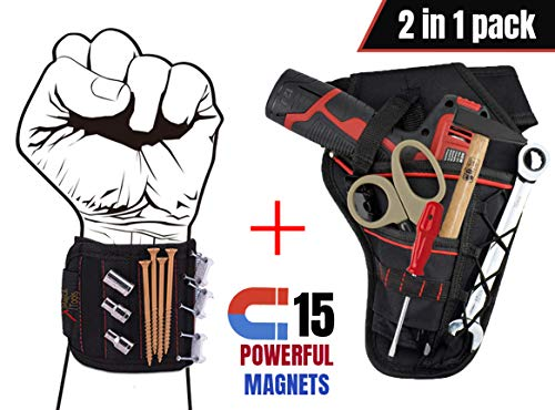 Magnetic Wristband & Tool Belt - by Magical Tools - 15 Strong Magnets to Holding Small Tool Screws Nails Drill Bits with Tool Belt -
