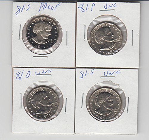 1981 P,D,S, AND S PROOF- SUSAN B ANTHONY DOLLARS- 4 TOTAL 3 UNCIRCULATED AND 1 PROOF (Susan Anthony Dollar Value)