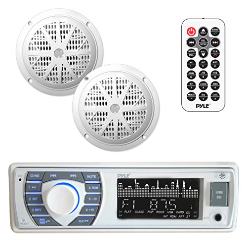 Marine Receiver & Speaker Kit - In-Dash LCD Digital Stereo Built-in Bluetooth & Microphone w/ AM FM Radio System 5.25'' Waterproof Speakers (2) MP3/USB/SD Readers & Remote Control - Pyle PLMRKT36WT (Best Boat Stereo Speakers)