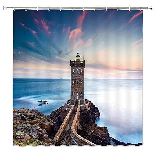 qianliansheji Lighthouse Shower Curtain Road Lamp Bathroom Shower Curtain Ocean Sky Shower Curtain Decoration White Cloud Red Cloud Rock Boat Shower Curtain Set Does not Fade Antibacterial 70x70 ()
