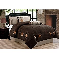 "Grand Linen 6 Piece Chocolate Brown/Taupe/Camel LODGE CABIN Full Size (90""X 86"") Comforter Set Micro Suede Texas Lone Star Rustic Western Decor Bedding"
