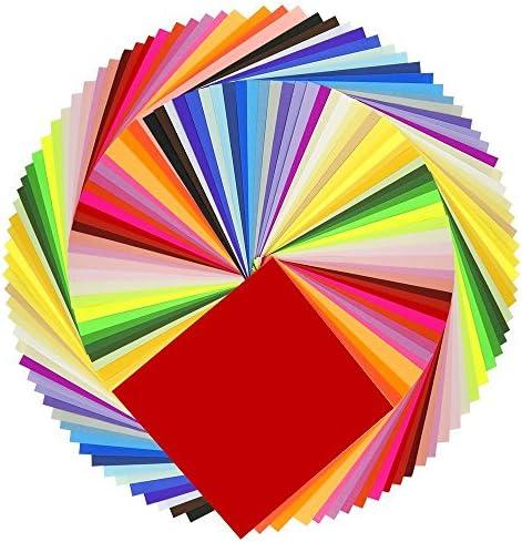 Summerwindy Origami-Papier 50 Lebendige Farben Doppelseitig 200 Blatt Hochwertige Qualitat 15cmx15cm Fuer Kunsthandwerksprojekte - Gleiche Farbe Beide Seiten