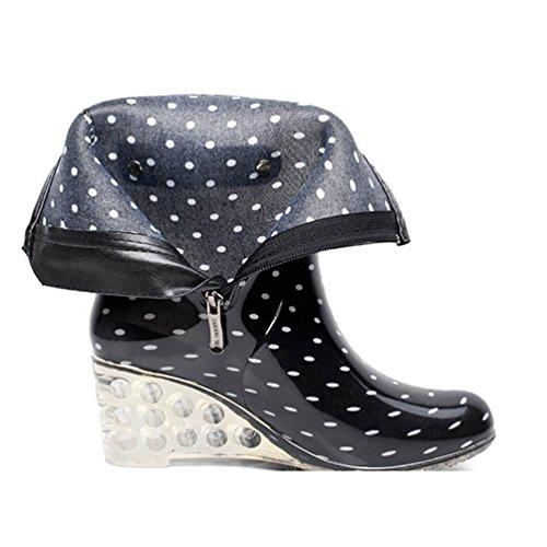 LvRao Zapatos de Tacón Alto Botas Con Cremallera de las Mujeres | Botas de Agua Damas Patrón de Punto Botines de Lluvia Wellies Negro Blanco