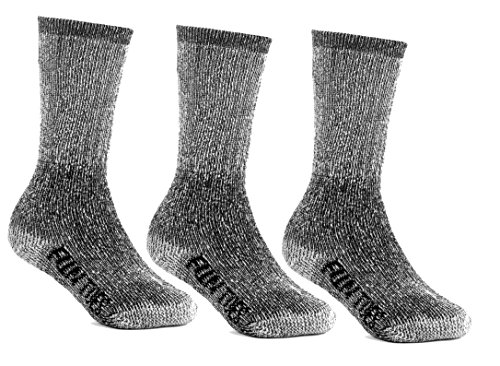 FUN TOES Children's Thermal Merino Wool Socks 3 Pairs Mid Weight For Winter Ski Sport (Black, XS (Mid Thermal Sock)