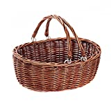 Large wicker picnic baskets with handles.Kingwillow(Brown)