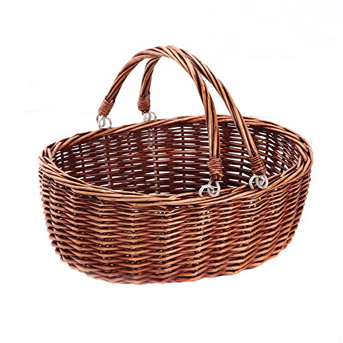 Kingwillow, Wicker Picnic Basket Hamper with Double Folding Handles, Oval Storage Basket with Handles. (Brown)