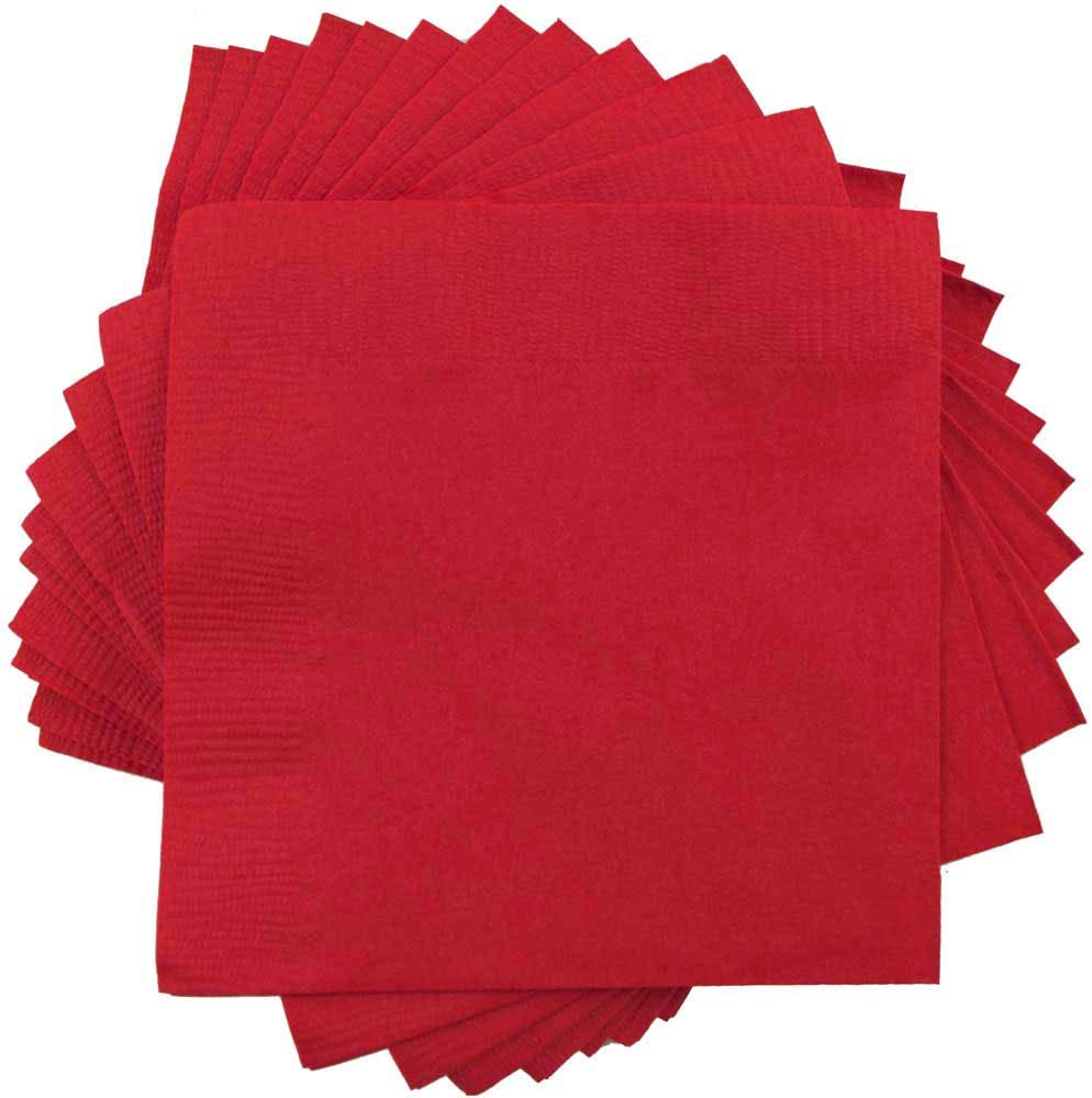 JAM PAPER Small Beverage Napkins - 5 x 5 - Red - 50/Pack