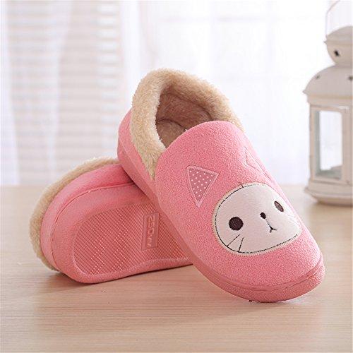 SGoodshoes Unisex Adulto Zapatillas Otoño Invierno Suave Felpa Cartoon Gato Algodón Zapatos Rosado
