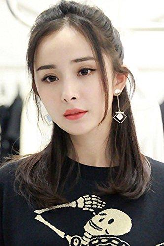 KENHOI Beauty earrings earings dangler eardrop creative korean long natural shell necklace pendant sterling silver asymmetric women girls ear tag (Sterling Silver Natural Shell)