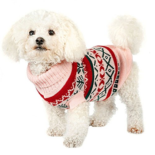Pet Sweater,Haoricu Hot Sale!Winter New Leaf Print Pet Warm Clothes Puppy Sweater For Small Dogs Jumpsuit (S, Pink)