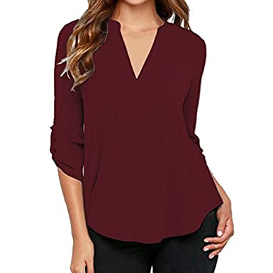 f66f6c074be0 Bluse e Camicie da Donna - Camicia di Chiffon Allentato a Maniche Lunghe in Chiffon  Casuale