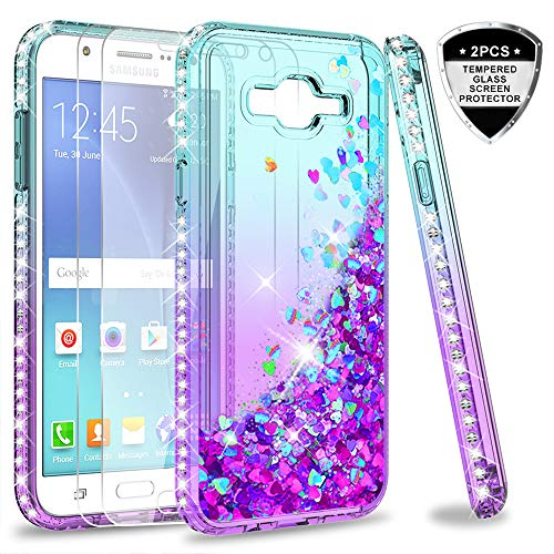 Galaxy J7 2015 / J7 NEO Case with Tempered Glass Screen Protector [2 Pack] for Girls Women,LeYi Glitter Diamond Quicksand Liquid Clear TPU Phone Case for Samsung Galaxy J7 J700 2015 Teal/Purple