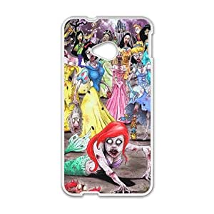 You Worth Own Cartoon Funny Little Mermaid Princesses Zombie Style Best Protective Hard Plastic cover ,TPU Phone case for HTC One M7,white