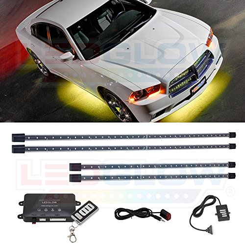 LEDGlow 4pc Yellow LED Underbody Underglow Car Light Kit - Includes Wireless Remote - Music Mode - Clear Angled Mounting Brackets