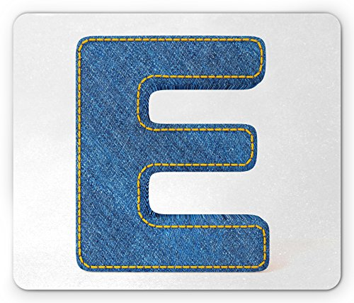 Letter E Mouse Pad by Ambesonne, Denim Blue Jeans Themed Symbol E from Alphabet ABC of Fabric Uppercase Letter, Standard Size Rectangle Non-Slip Rubber Mousepad, Blue Yellow