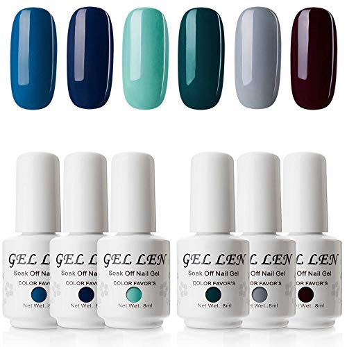 Gellen UV LED Soak Off Gel Nail Polish Set, Pack of 6 Sapphire Emerald Colors 8ml Each