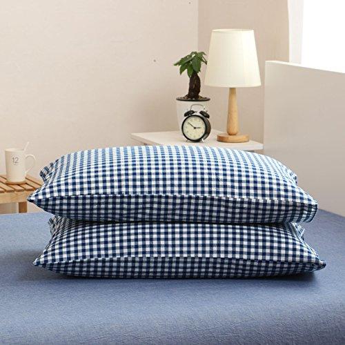 Libaoge 4 Piece Bed Sheets Set, Blue White Checkered Plaid Grid Print, 1  Flat