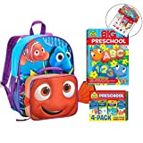 Preschool Back to School Set of 5: Big Preschool Workbook, Flash Cards 4-Pack Covering Colors, Shapes & Numbers, with Disney Finding Dory 16-inch Backpack, Lunch Bag & Educational Calendar Zipper Bag