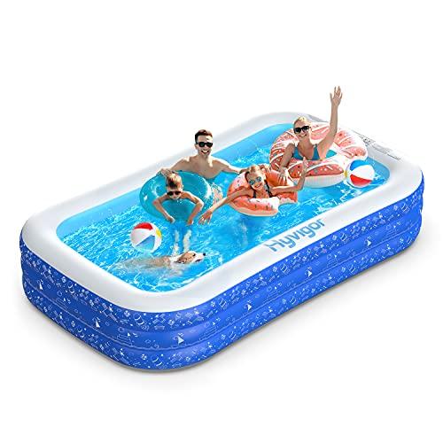 51L3TvDlhmS. SS500 La piscina inflable tiene capacidad para 2 adultos y 3 niños (300 x 180 x 56cm) para disfrutar de una fiesta en la piscina en el patio trasero. Las criaturas marinas, los transbordadores espaciales y otros patrones de la superficie aumentan la diversión entre padres e hijos La Hyvigor piscina hinchable fabricada de material de PVC de alta resistencia que protege el medio ambiente, espesor 0.4 mm, un 50% más gruesa que la mayoría del mercado, lo que reduce el riesgo de pinchazos y garantiza una larga vida útil 3 cámaras de aire individuales de la piscina pueden soportar un peso adicional al tiempo que evitan las fugas de aire, sin deformación a altas temperaturas, utilizable en la playa