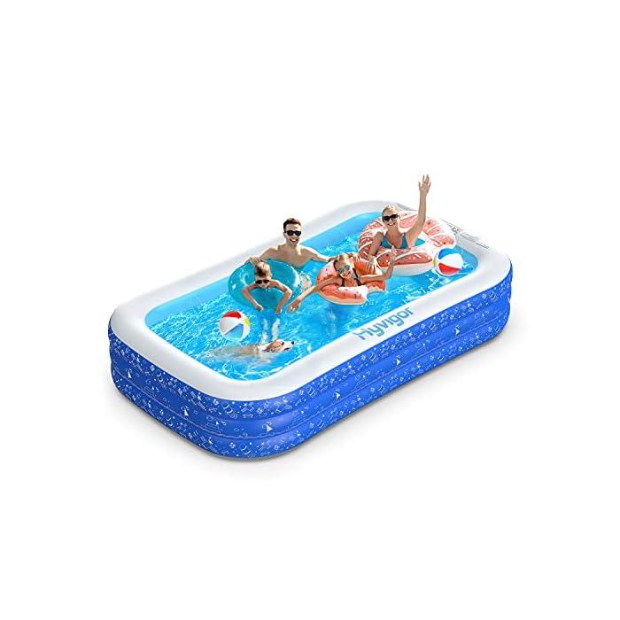 51L3TvDlhmS La piscina inflable tiene capacidad para 2 adultos y 3 niños (300 x 180 x 56cm) para disfrutar de una fiesta en la piscina en el patio trasero. Las criaturas marinas, los transbordadores espaciales y otros patrones de la superficie aumentan la diversión entre padres e hijos La Hyvigor piscina hinchable fabricada de material de PVC de alta resistencia que protege el medio ambiente, espesor 0.4 mm, un 50% más gruesa que la mayoría del mercado, lo que reduce el riesgo de pinchazos y garantiza una larga vida útil 3 cámaras de aire individuales de la piscina pueden soportar un peso adicional al tiempo que evitan las fugas de aire, sin deformación a altas temperaturas, utilizable en la playa