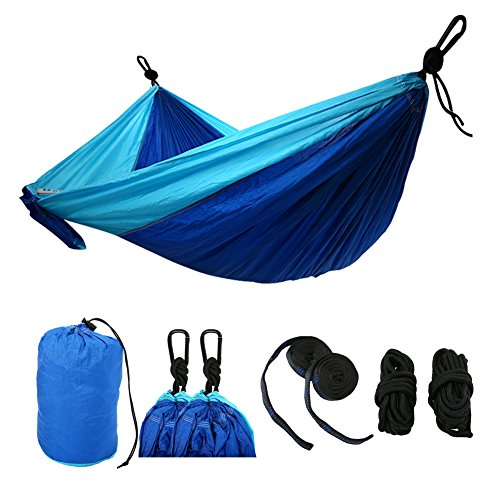 IDOMIK Camping Hammock Double Plus Size Nylon Parachute Lightweight Portable With Accessories Steel Carabiners Rope Straps For Outdoor Activities Hiki…