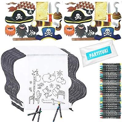 Partituki Regalos Cumpleaños Niños Colegio. 30 Mochilas de Colorear, 30 Sets de 5 Ceras de Colores y 24 Piezas de Fotocall Piratas