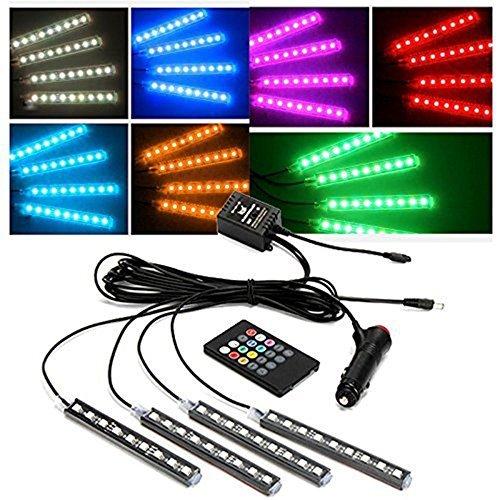 Alinshi 4pcs 9 LED Multi-color Car Interior Voice Control Lights