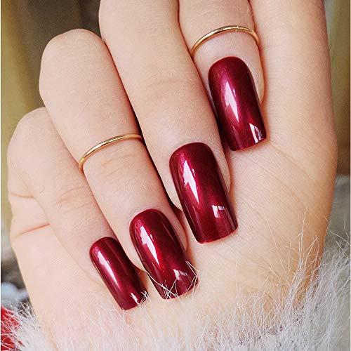 Fake Vampire Nails (Specular Reflection Vampire Wine Red False Nails 24pcs Square Long Solid Nail Tips with Glue Sticker New Nail Art)