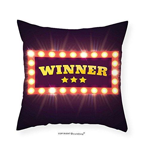 VROSELV Custom Cotton Linen Pillowcase Retro Winner Banner Lamps Vintage Design Casino Gambling Jackpot Digital Print for Bedroom Living Room Dorm Purple Yellow Salmon 26