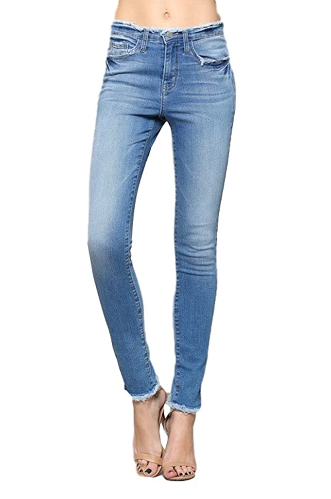 a0acb18202a Cotton Blend Flying Monkey Jeans Women\'s High-Rise Skinny HIGH RISE  DISTRESSED WAISTBAND RAW HEM SKINNY RISE: 8 to 8 3/4 inches