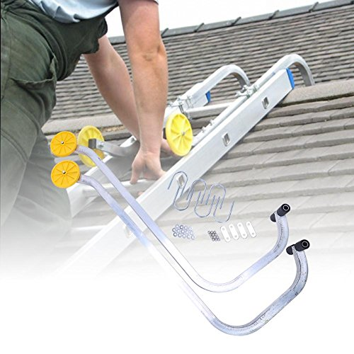 Aluminum Roof Ladder - Vipeco Multifunctional Detachable Ladder Hook with Two Wheel Hooks Ladder