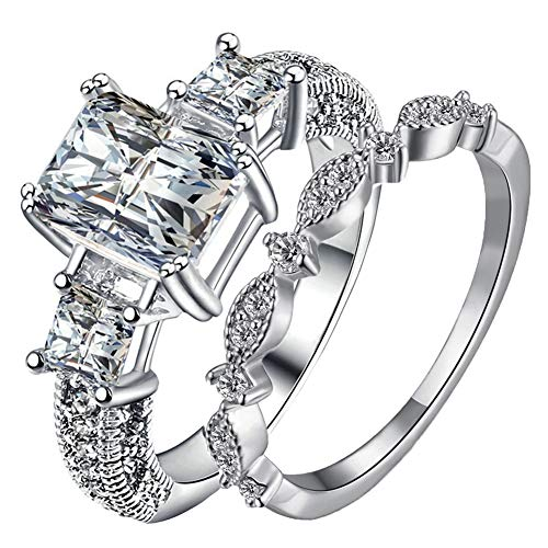 Women's 2PCS Gorgeous 18K Gold Plated Princess Cut CZ Bridal Engagement Wedding Band Set Best Anniversary Eternity Love Promise Rings Enhancers for Her Heart&Arrow Jewelry Designer (White Gold, 9) (Designer Platinum Eternity Band)