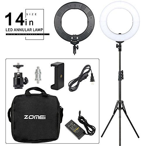 ZOMEI 14-inch Bi-Color Stepless Dimmable LED Ring Light Kitwith Stand 41W 5500K Output Hot Shoe Adapter for Outdoor Shooting Live Streaming Make up and YouTube Video by BAIPAK