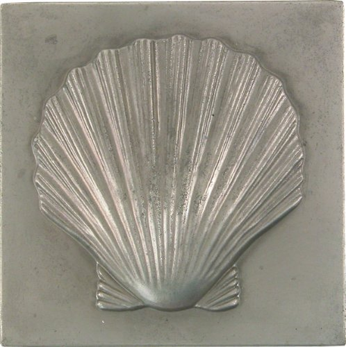 Brass Elegans 27S-PWT Shell Design Solid Metal 4-Inch X 4-Inch Accent Tile, Durable Pewter (Pewter Wall Tiles)