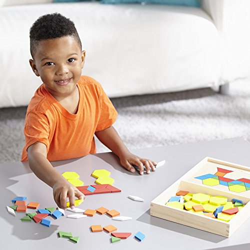 51L3V0qml1L - Melissa & Doug Pattern Blocks and Boards - Classic Toy With 120 Solid Wood Shapes and 5 Double-Sided Panels