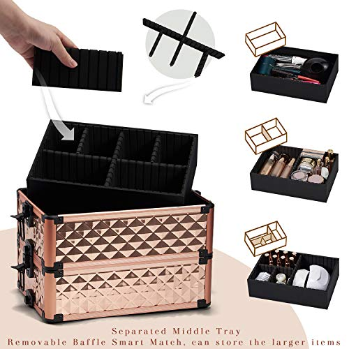 Stagiant Rolling Makeup Train Case Large Storage Cosmetic Trolley 4 in 1 Large Capacity Trolley Makeup Travel Case with Key Swivel Wheels Salon Barber Case Traveling Cart Trunk - Rose Gold