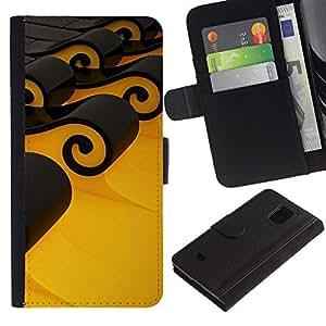 All Phone Most Case / Oferta Especial Cáscara Funda de cuero Monedero Cubierta de proteccion Caso / Wallet Case for Samsung Galaxy S5 Mini, SM-G800 // Design Black Waves