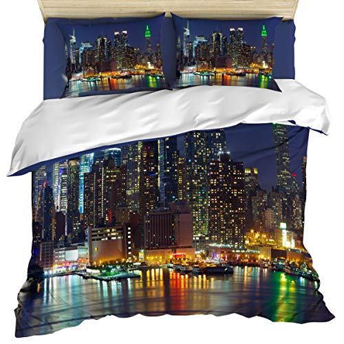 New York 4 Piece Bedding Set Comforter Cover Duvet Cover Set Queen Size, NYC Midtown Skyline in Evening Skyscrapers Metropolis City States, Bedspread Daybed with Zipper Closure 2 Pillow Sham Cases