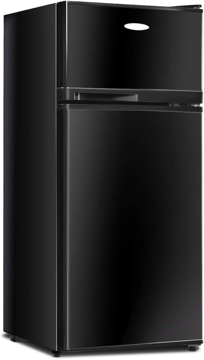 GOFLAME Compact Refrigerator, 3.4 cu. ft. Mini Cooler Fridge with Removable Glass Shelves, Adjustable Thermostat, Freestanding Fridge with Top Door Freezer for Dorm, Office, Apartment Use (Black)
