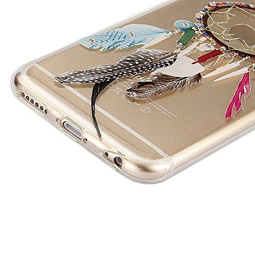 Funda para iPhone 6/6S plus, Ukayfe Suave Carcasa Caso Parachoques Diseño pintado Patrón para iPhone 6/6S plus,Funda Case Lujo Premium Bling Caja PC Dura Ultra Fina Cubierta Matt Glitter Protectora Ca Campanula Feather Tribal