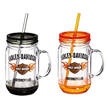 Harley Davidson Bar and Shield Flames Mason Jar Cup, 18 ounces, Set of 2,