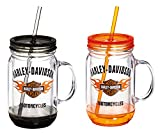 harley davidson house floor mats - Harley-Davidson Flaming Bar & Shield Mason Jar Cups, 2 Pack Gift Set P24084901