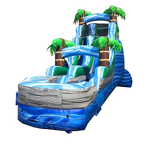 18-Foot Tall, 35-Foot Long Blue and Green Tropical-Styled Inflatable Water Slide, Wet or Dry, Commercial Grade, 1.5 HP Blower and Stakes Included