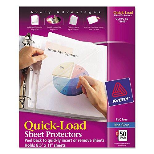 Avery 73803 Protectores rápidos de hojas de carga superior y lateral, carta, antirreflejo (caja de 50)