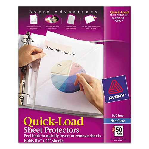 Avery 73803 Quick Top & Side Loading Sheet Protectors, Letter, Non-Glare (Box of 50) (Sheet Load Protector Side)